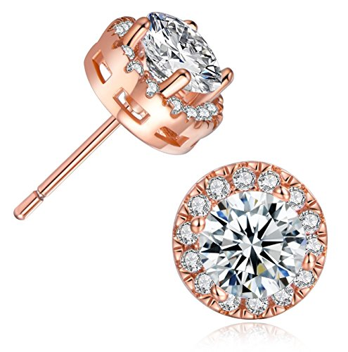 74b4a3cbe MDFUN 18K Rose Gold Plated Round Cubic Zirconia Stud Earring For Women