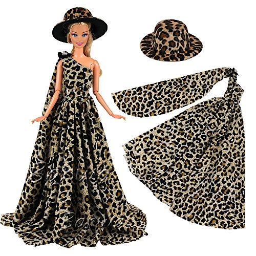 01f08a7726bc8e Color:blue dress, Blue and White clear shoes. Barwa evening wedding party  leopard clothes wears gown dress with Hat Outfit Set for Barbie DollPackage  ...