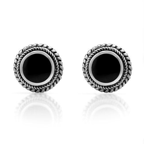d3771daec 925 Sterling Silver Bali Inspired Tiny Black Onyx Gemstone Braided Round 9  mm Post Stud Earrings