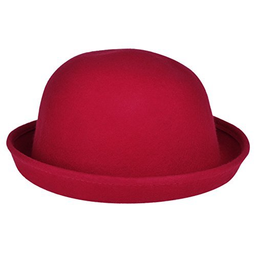 f50eb4ebb16 VBIGER Women Woolen Roll-up Brim Fedora Bowler Hat Dark Red – Arelaxo