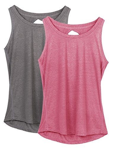 77e50c0f56 icyzone Yoga Tops Activewear Workout Clothes Open Back Fitness Racerback  Tank Tops For WomenS,Grey/Sugar Coral