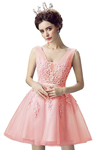 a57274e4a5b Babyonline Lace Tulle Prom Dresses Short V Neck Bridesmaid Homecoming Gown