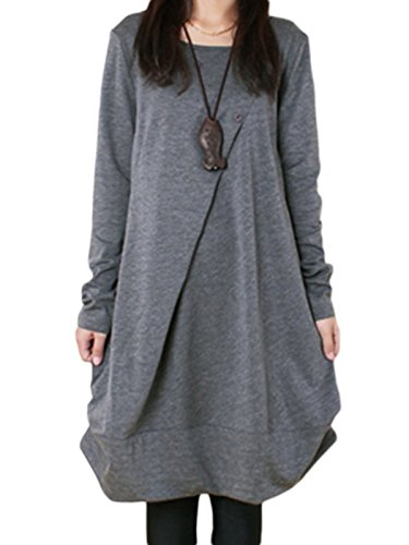 9a8f0bf8d83 MISSLOOK Women s Round Neck Long Sleeve Plain Folds A-Line Simple Midi Dress